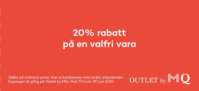cae6e1493d24 20% rabatt på en valfri vara hos Outlet by MQ i Port 73, Stockholm -  Köpguiden