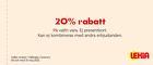 20% rabatt på valfri vara