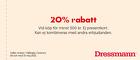20% rabatt vid köp för minst 500 kr
