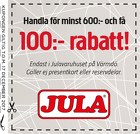 Populära rabattkuponger Handla för minst 600:- och få 100:- rabatt!