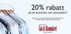 20% rabatt på all kemtvätt och skomakeri