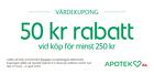 Populära rabattkuponger 50 kr rabatt vid köp för minst 250 kr