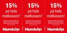 Populära rabattkuponger 15% på hela matkassen x 3!