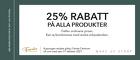 25% rabatt på alla produkter