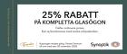 25% rabatt på kompletta glasögon
