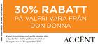 Populära rabattkuponger 30% rabatt på en valfri vara från Don Donna