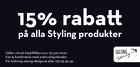Populära rabattkuponger 15% rabatt på alla styling produkter