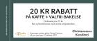 20 kr rabatt på kaffe + valfri bakelse
